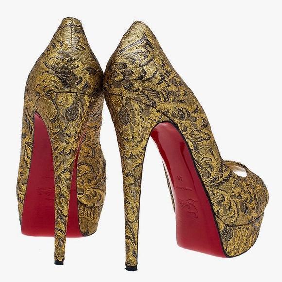 fedd60fd86 Christian Louboutin Shoes | Lady Peep Brocart Platform | Poshmark